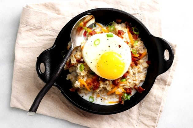 Savory Oatmeal with Soft-Cooked Egg + Bacon - According to Elle