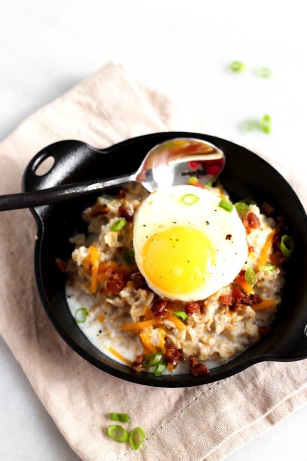 Savory Oatmeal with Egg + Bacon 6