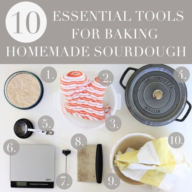 Tools for baking homemade sourdough