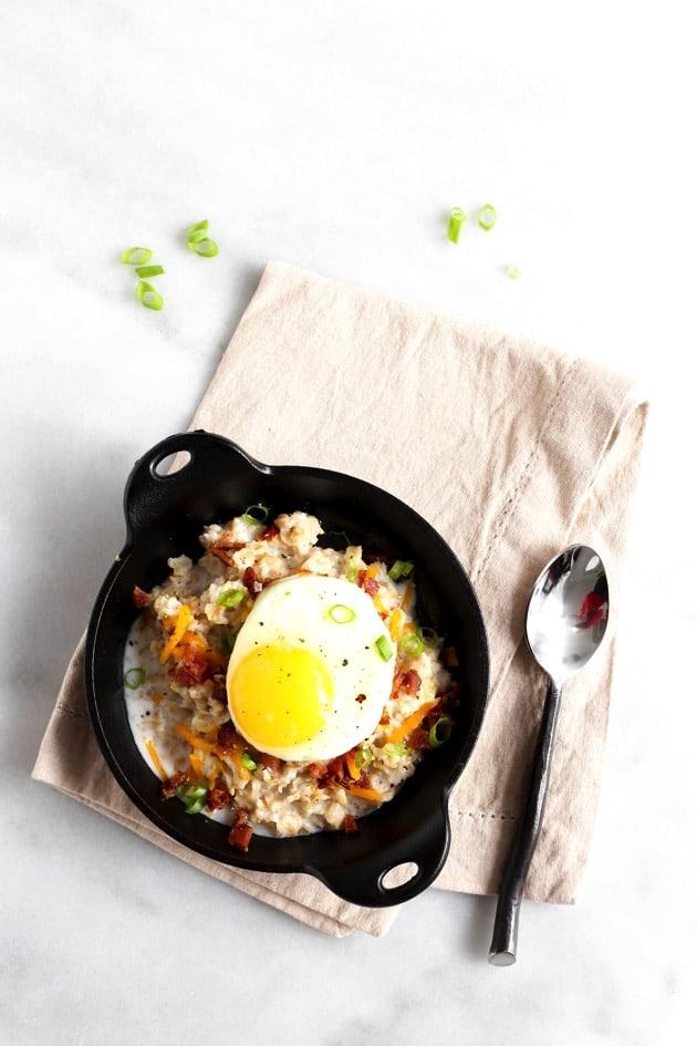 Savory Oatmeal with Egg + Bacon 2