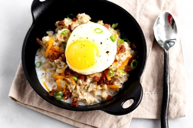 Savory Oatmeal with Egg + Bacon 3