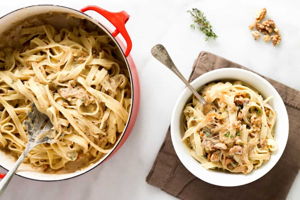 Creamy Cauliflower Fettuccini with Walnuts and Caramelized Onions